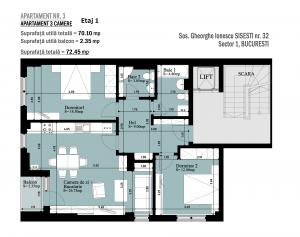Apartament 3 camere Etaj 1, Gheorghe Sisești nr. 32, Bucuresti