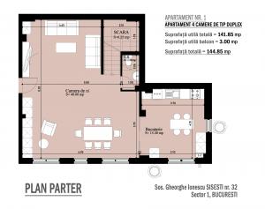 Apartament 4 camere tip duplex plan parter Gheorghe Ionescu isesti nr. 32
